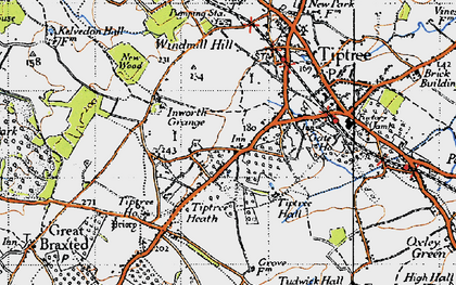 Old map of Tiptree Hall in 1945
