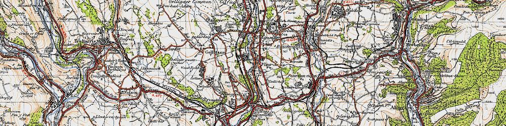 Old map of Tir-y-berth in 1947