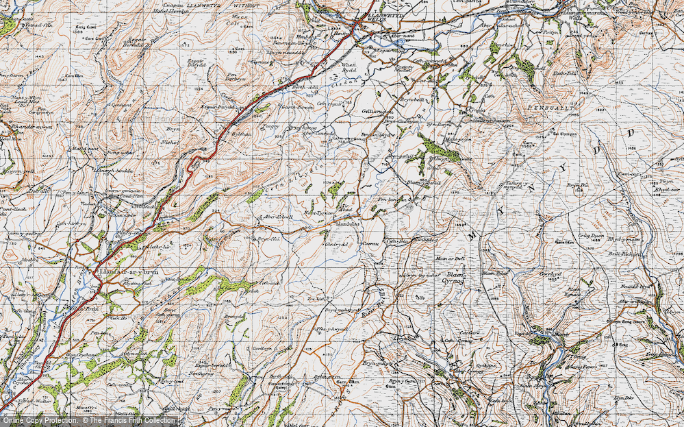Old Map of Historic Map covering Abergefail in 1947