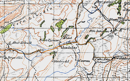 Old map of Abererbwll in 1947