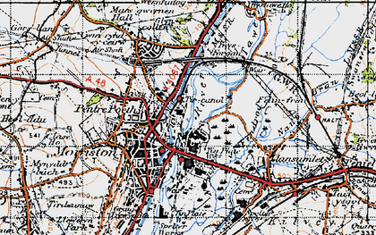 Old map of Tircanol in 1947