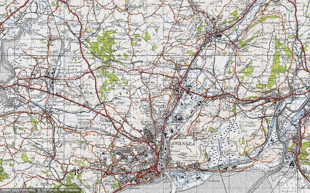 Old Map of Tirdeunaw, 1947 in 1947