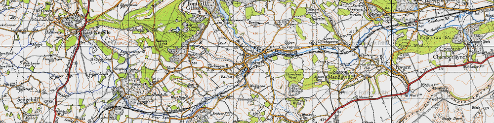 Old map of Tisbury in 1940