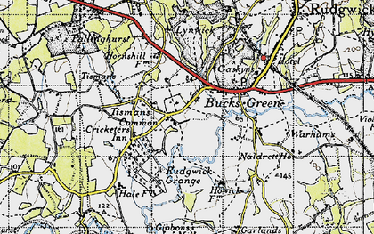 Old map of Tisman's Common in 1940