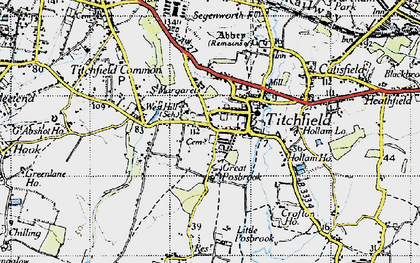 Old map of Titchfield in 1945