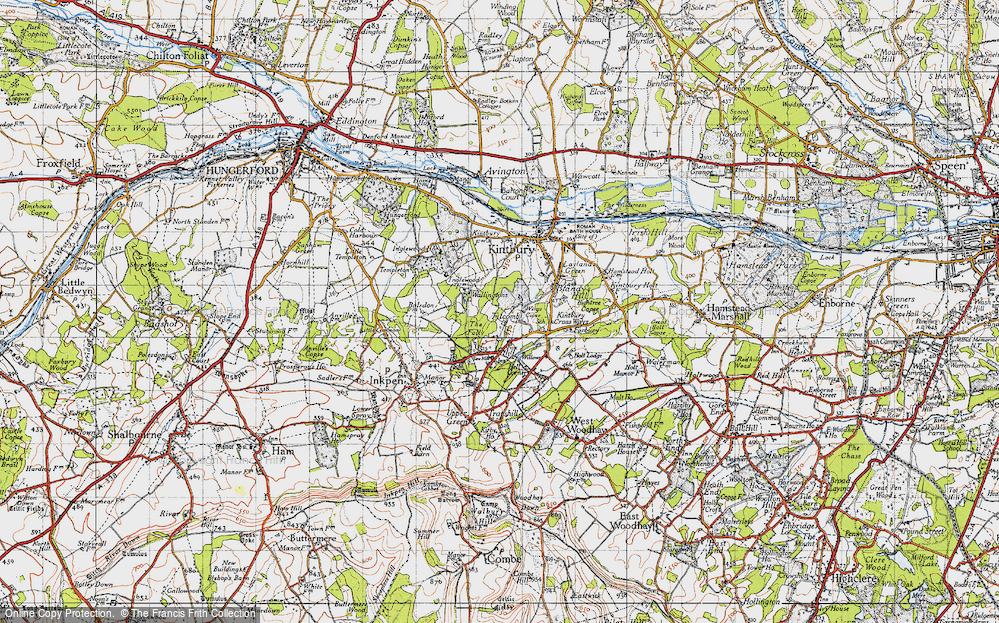 Old Map of Historic Map covering Titcomb Manor in 1945