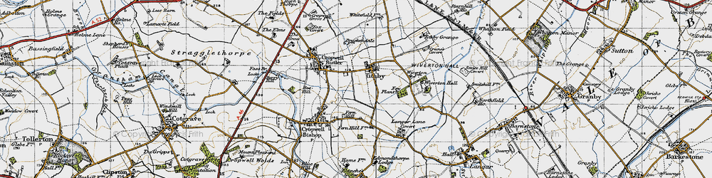Old map of Tithby in 1946