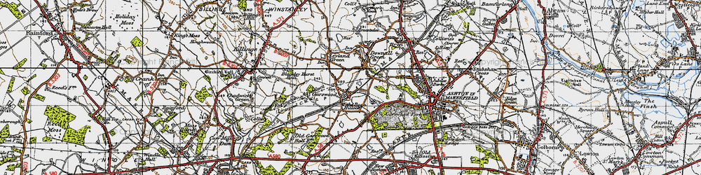 Old map of Tithe Barn Hillock in 1947