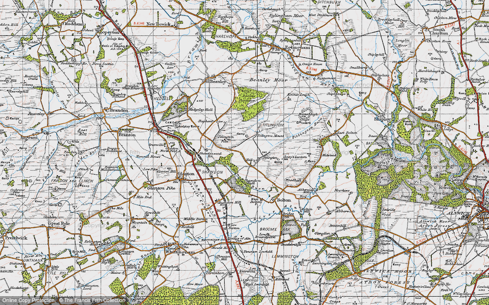Old Map of Historic Map covering Titlington Mount in 1947