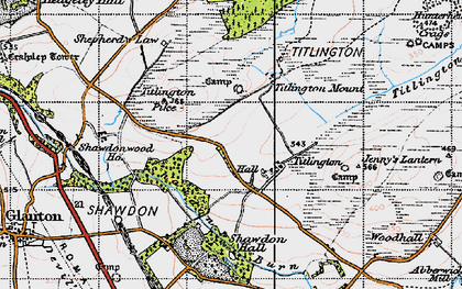 Old map of Titlington Burn in 1947