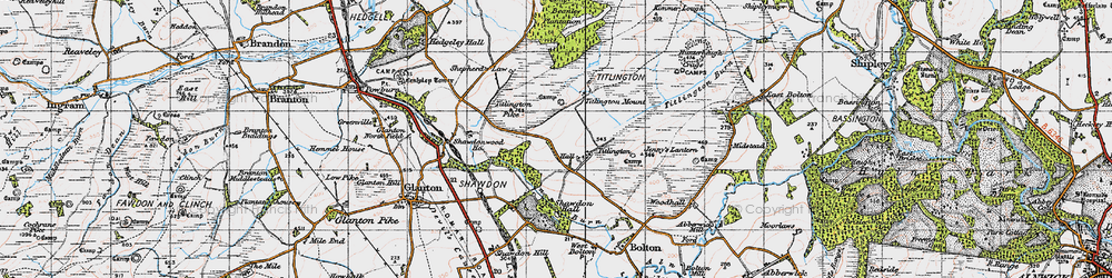 Old map of Titlington in 1947