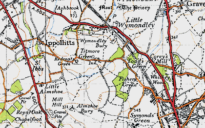 Old map of Titmore Green in 1946