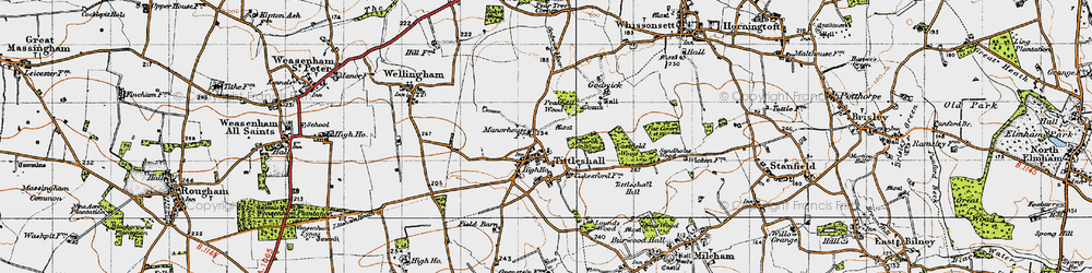 Old map of Tittleshall Hill in 1946