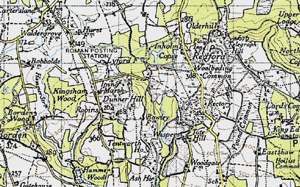 Old map of Titty Hill in 1945
