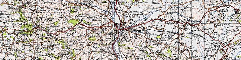 Old map of Tiverton in 1946