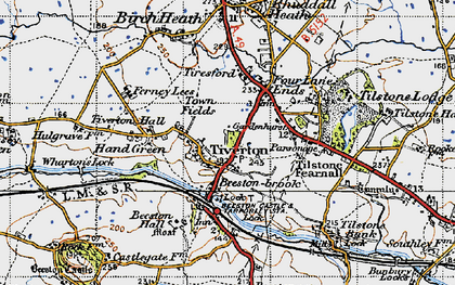 Old map of Tiverton in 1947