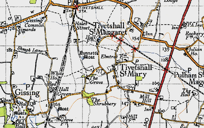 Old map of Tivetshall St Margaret in 1946