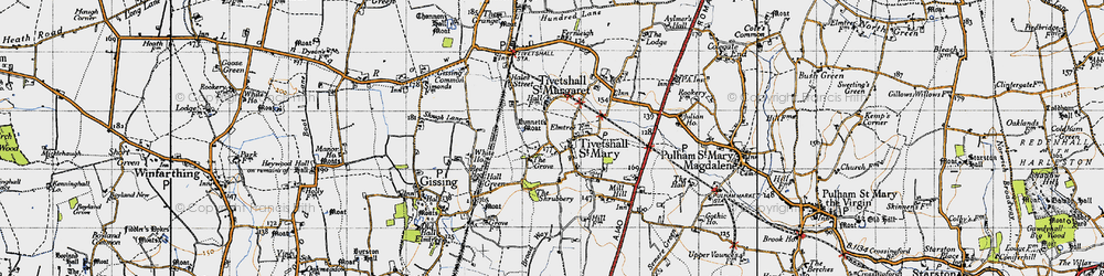 Old map of Tivetshall St Mary in 1946
