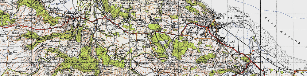 Old map of Tivington in 1946