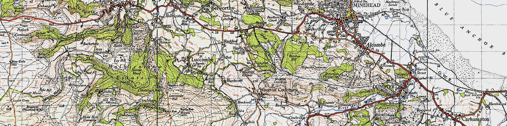 Old map of Tivington Common in 1946