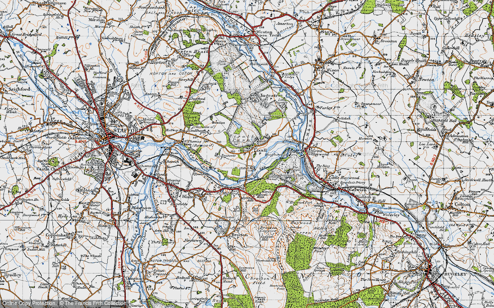 Old Map of Tixall, 1946 in 1946