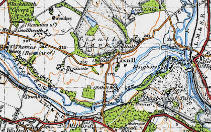 Old map of Tixall in 1946