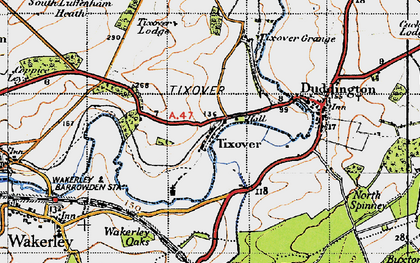 Old map of Tixover in 1946