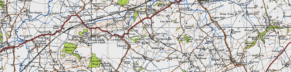 Old map of Tockenham in 1947