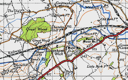 Old map of Tockenham Wick in 1947
