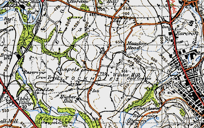 Old map of Tockholes in 1947