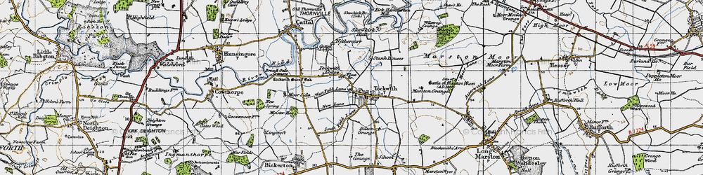 Old map of Wilstrop Wood in 1947