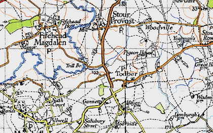 Old map of Todber in 1945