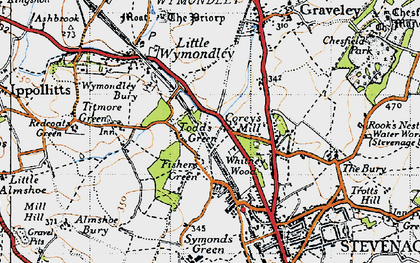 Old map of Todd's Green in 1946