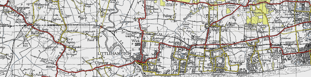 Old map of Toddington in 1945