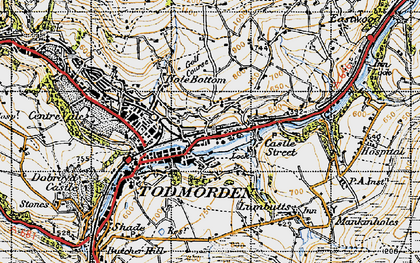 Old map of Todmorden in 1947