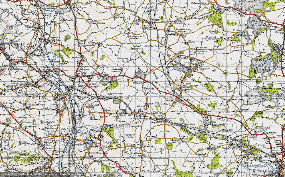 Old Map of Historic Map covering Todwick Grange in 1947