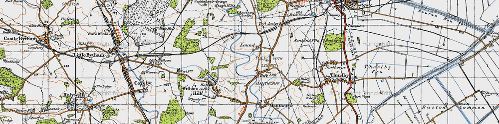 Old map of Toft Lodge in 1946