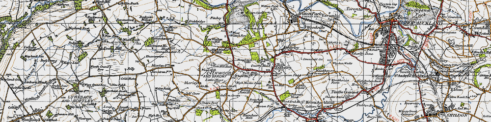 Old map of West Witton Row in 1947