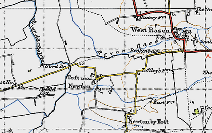 Old map of Toft next Newton in 1947