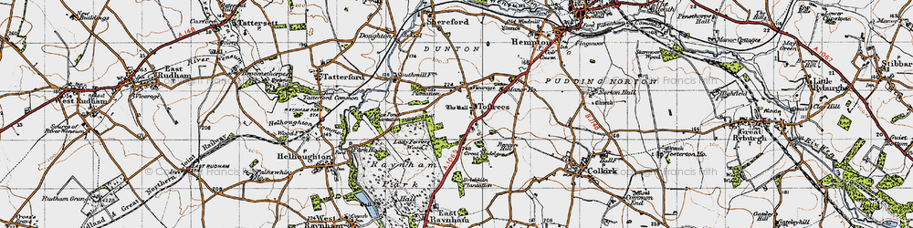 Old map of Toftrees in 1946