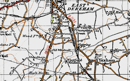 Old map of Toftwood in 1946