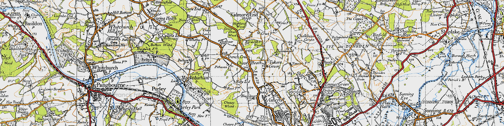 Old map of Tokers Green in 1947