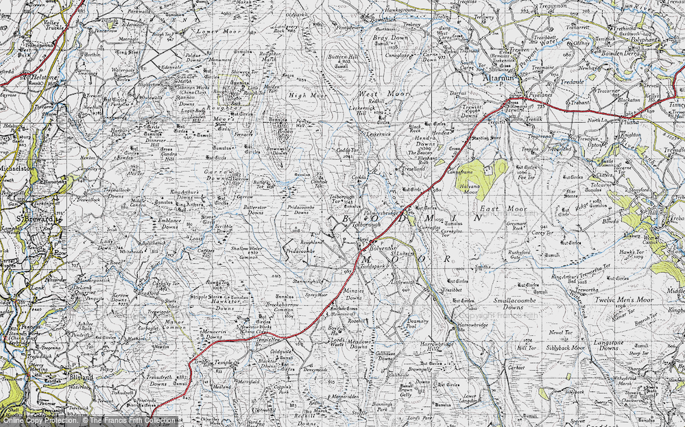 Old Map of Historic Map covering Tolborough Tor in 1946