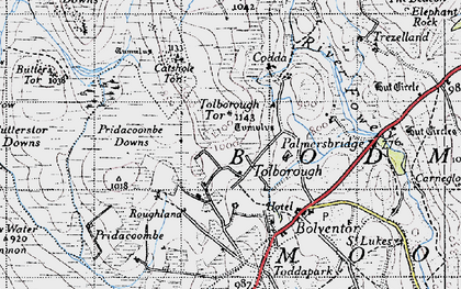 Old map of Tolborough in 1946