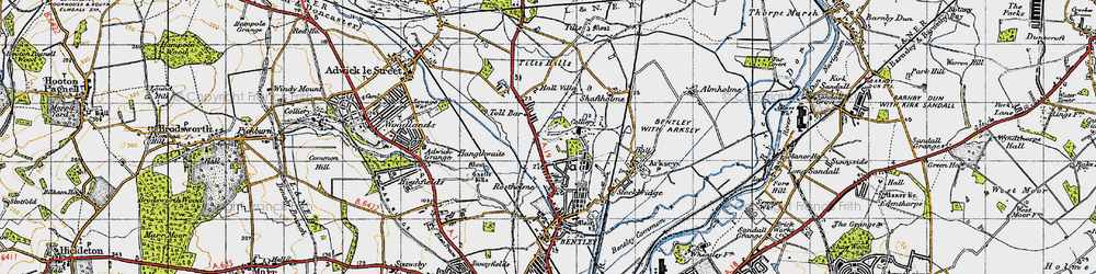 Old map of Toll Bar in 1947