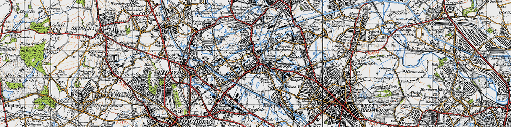 Old map of Toll End in 1946