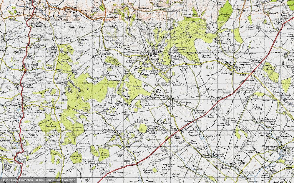 Old Map of Tollard Farnham, 1940 in 1940