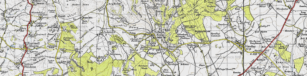 Old map of Tollard Royal in 1940