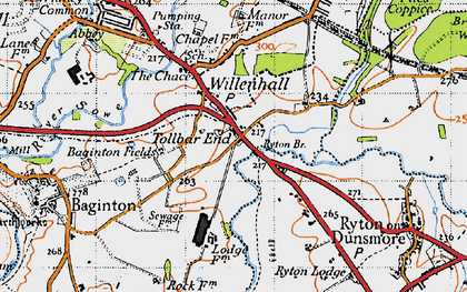 Old map of Tollbar End in 1946