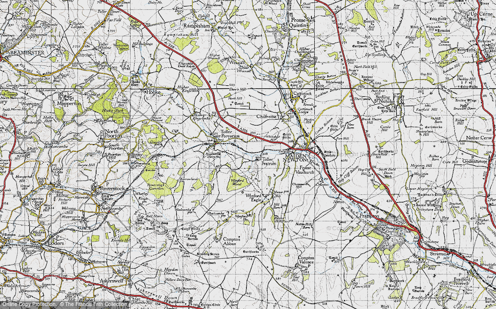 Old Map of Historic Map covering Wynford Wood in 1945